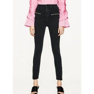 Zara High-Rise Moto Zipper Skinny Edgy Jeggings 4